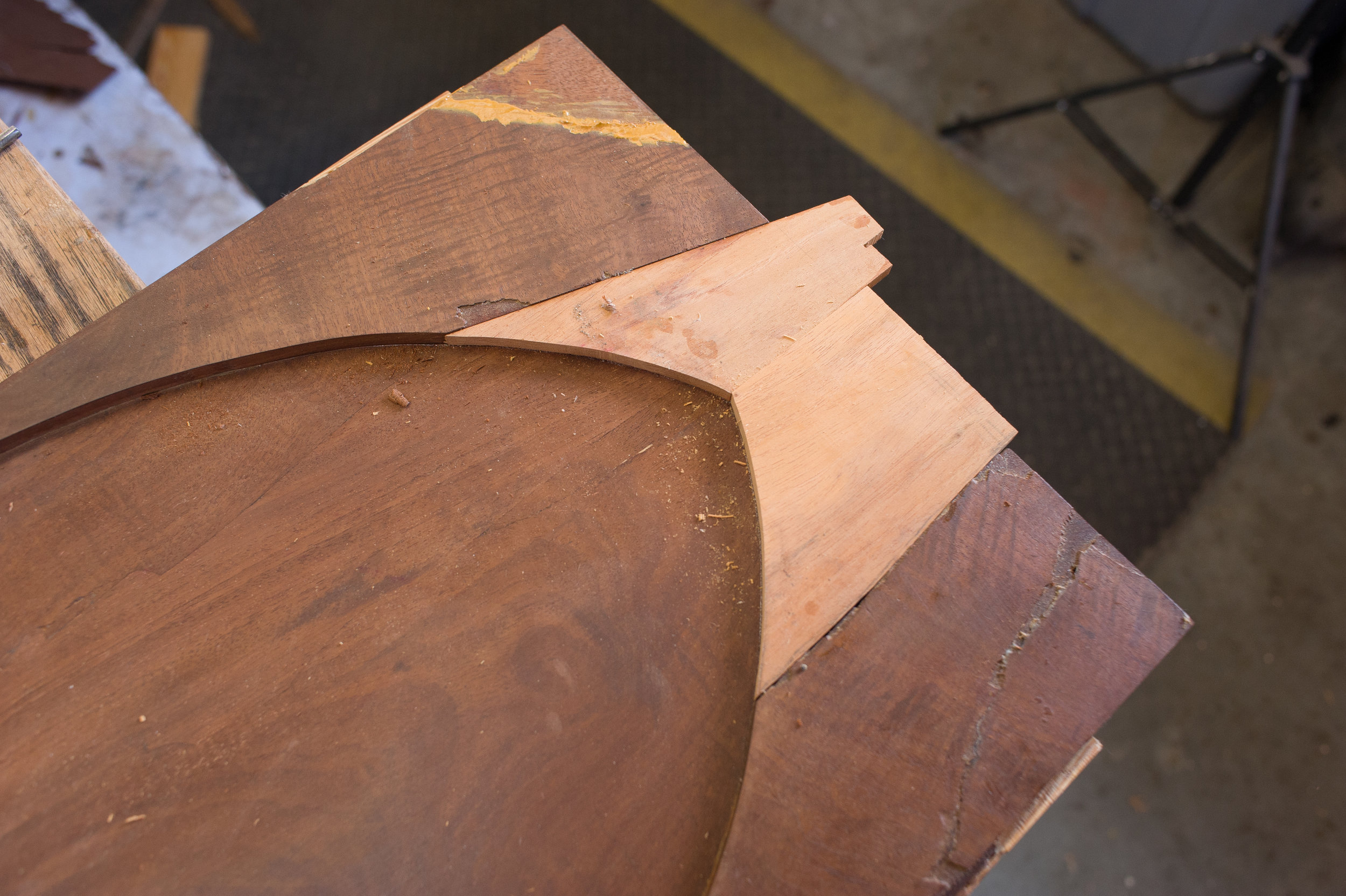 Restoration of Gothic arch. The mahogany substrate will be veneered with mahogany.