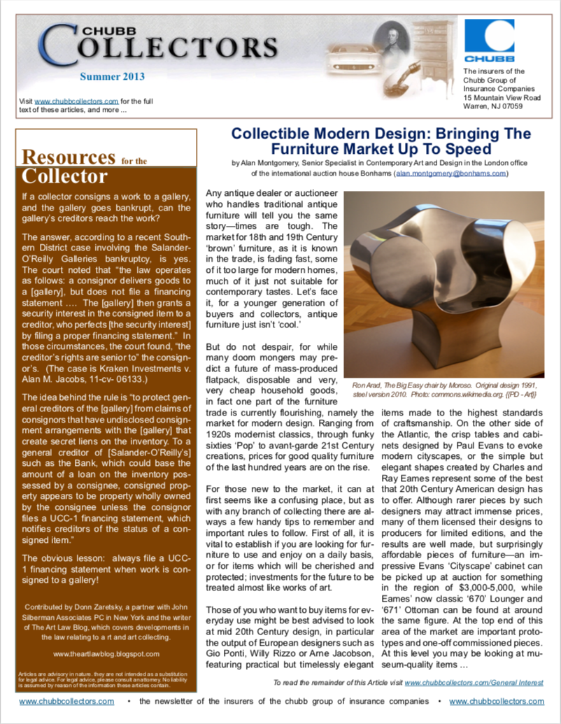 - This article was originally published in the Summer 2013 Chubb Collectors newsletter that is no longer available online on the Chubb Group of Insurance Companies website.
