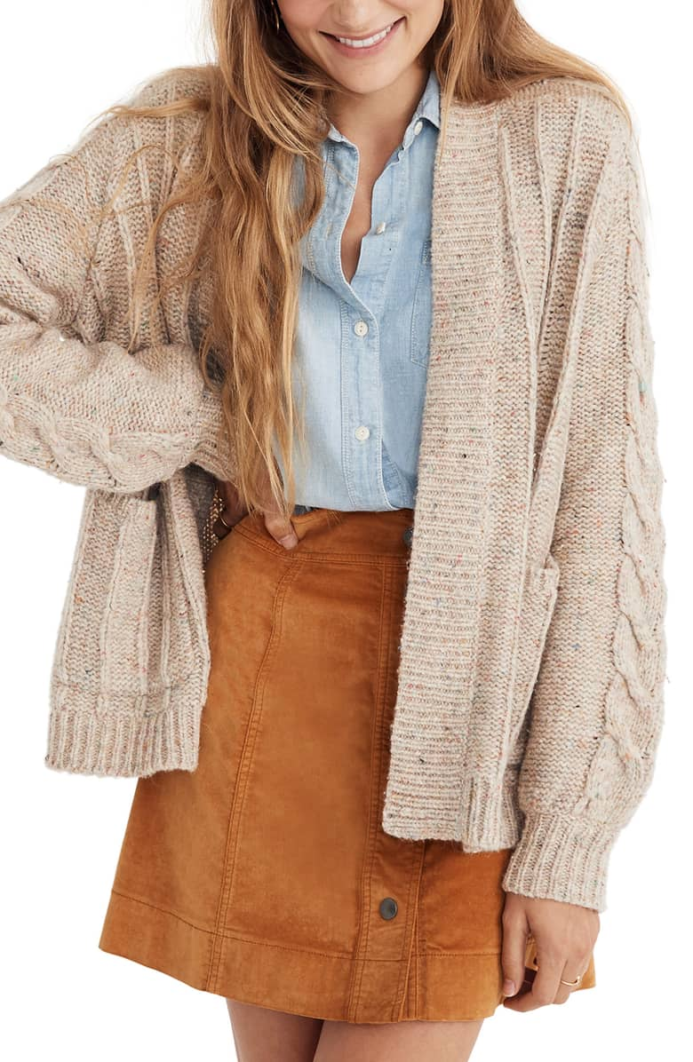 Madewell Bubble Sleeve Cable Knit Cardigan Sweater.jpg