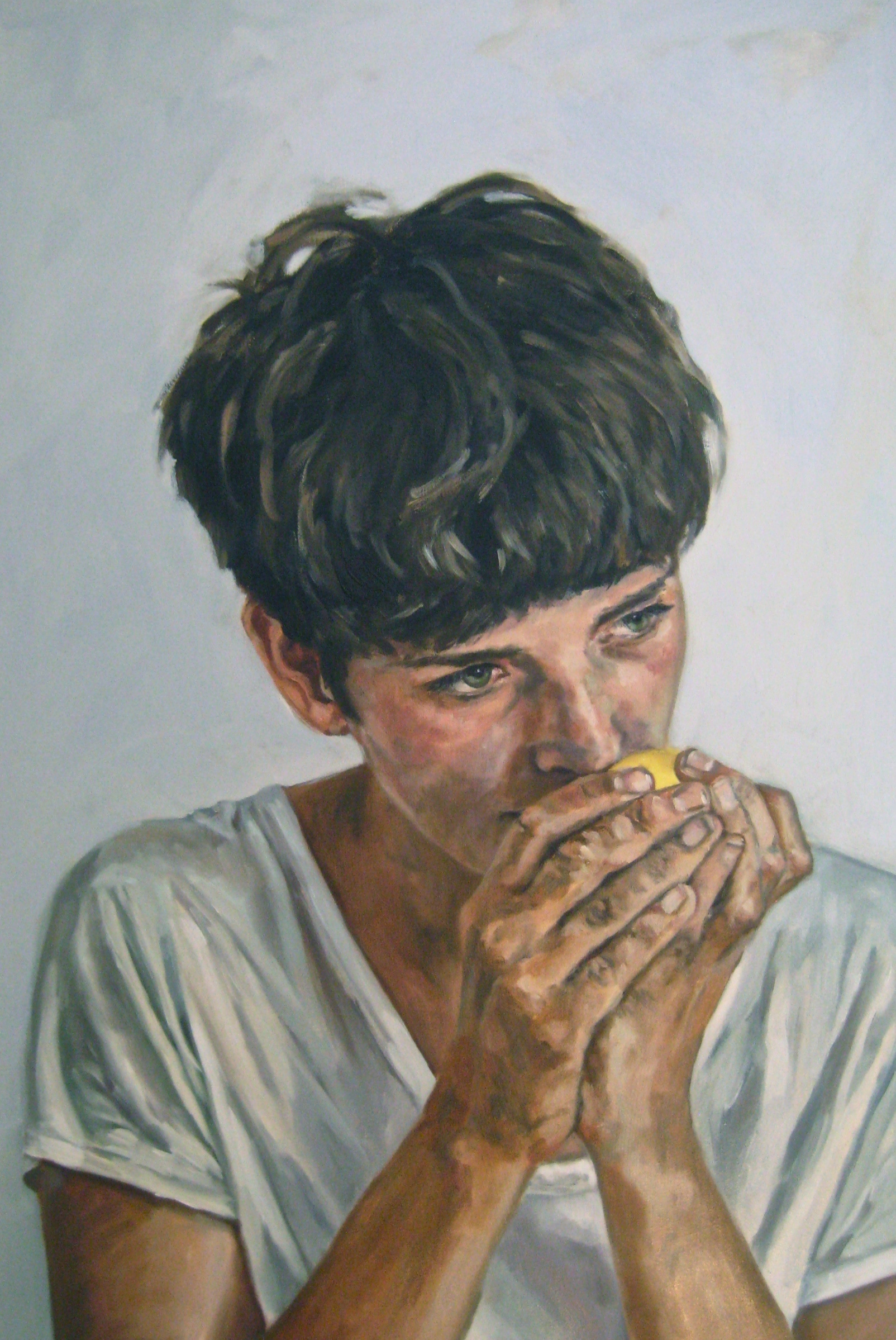 """Untitled (Erin with Lemon)   Oil on panel 24"""" x 36"""" 2015"""