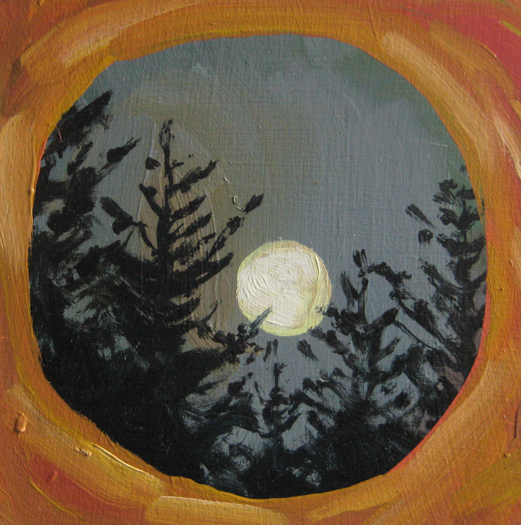 Full moon over forest