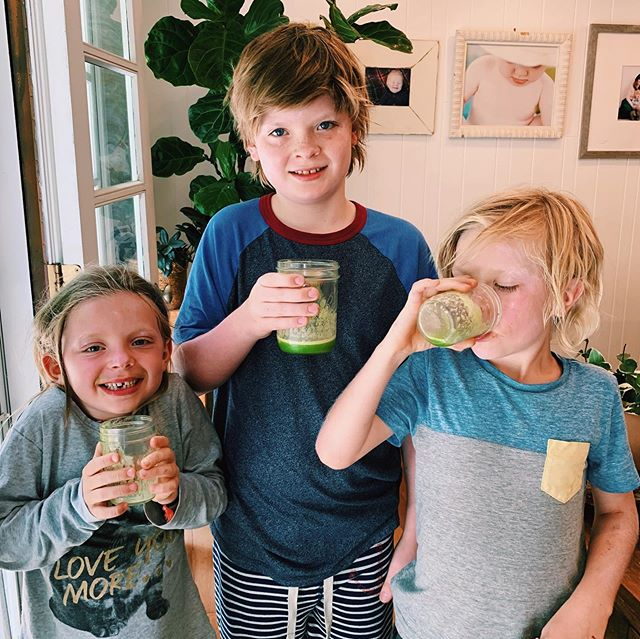 """Eat real food. Not too much. Mostly plants."" - Michael Pollan 🥭🍋🥬🍌 Quick smoothies before we head out the door to a birthday party on this beautiful sunny Friday!  We fill our blender half full with kale, eyeball 1/2c lemon juice, toss in some frozen mango, a ripe banana, water and blend!! Couldn't keep their cups full long enough to snap this photo! 🌞  #consciousparenting #consciousliving  #podcast #getparented #parenthood #respectfulparenting #theparentedpodcast #parentingpodcast #evidencebasedparenting #empoweredparenting #RIEparenting #simplicityparenting #developingmind #unconditionalparenting #jointheupbringing #slowparenting #mindfulparenting #motherhood #thrivenotsurvive #positivediscipline #bepresent #realfood #fruit #veggies #modeling #organic #eatrealfood"