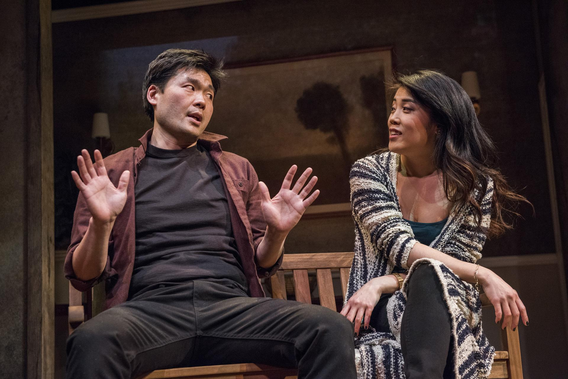 Tony Nam and Eunice Bae in   Aubergine   at Everyman Theatre.