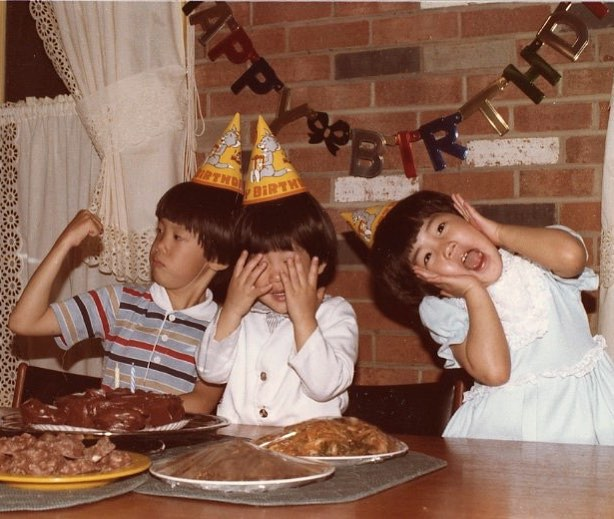 """"""" 🐻 Shaped Birthday Cake + Identical Haircuts = Original Bae's""""  Eunice Bae and her brothers circa the 80s."""