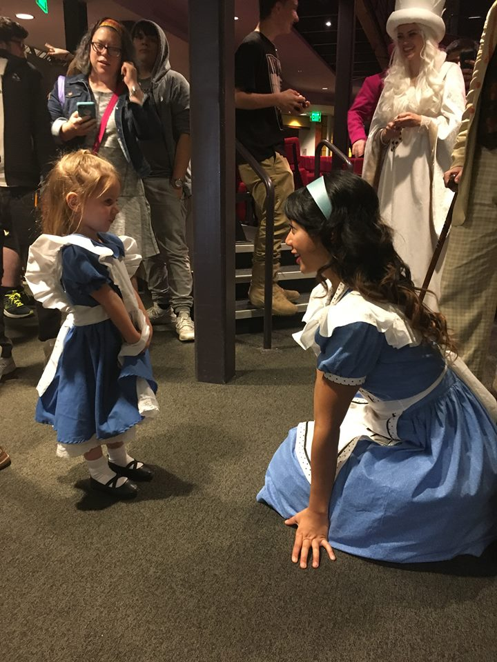 Alex meeting a young fan after a production of   Alice in Wonderland   at Chesapeake Shakespeare Company.