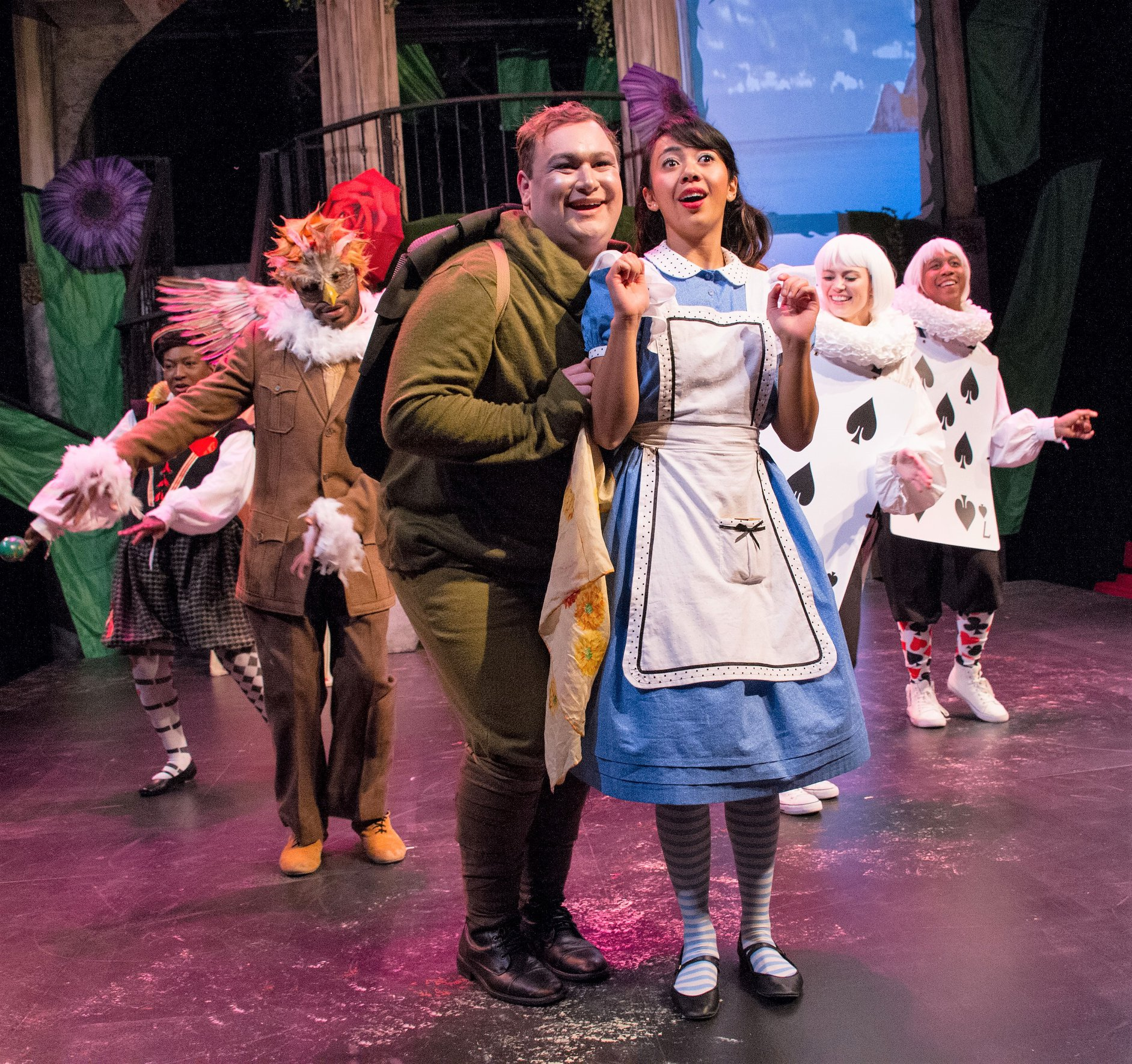 Alex Palting as Alice and Greg Atkin as The Tortoise with the cast of   Alice in Wonderland   at Chesapeake Shakespeare Company.