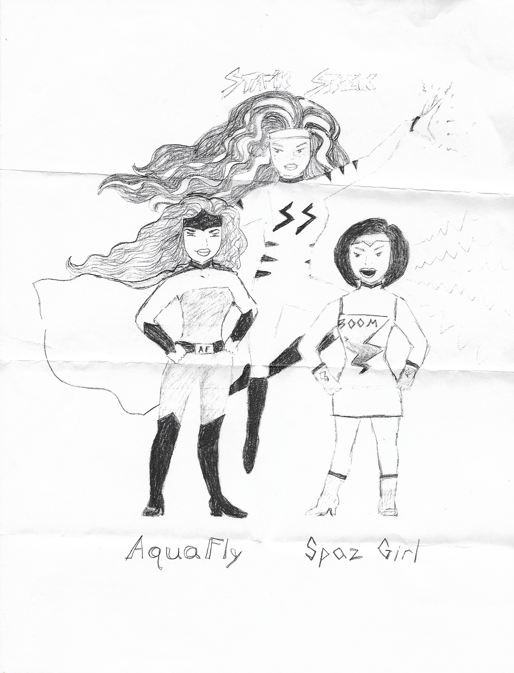 Our mutant alter egos: Statik Streak, AquaFly and Spaz Girl. (I was Spaz Girl.)