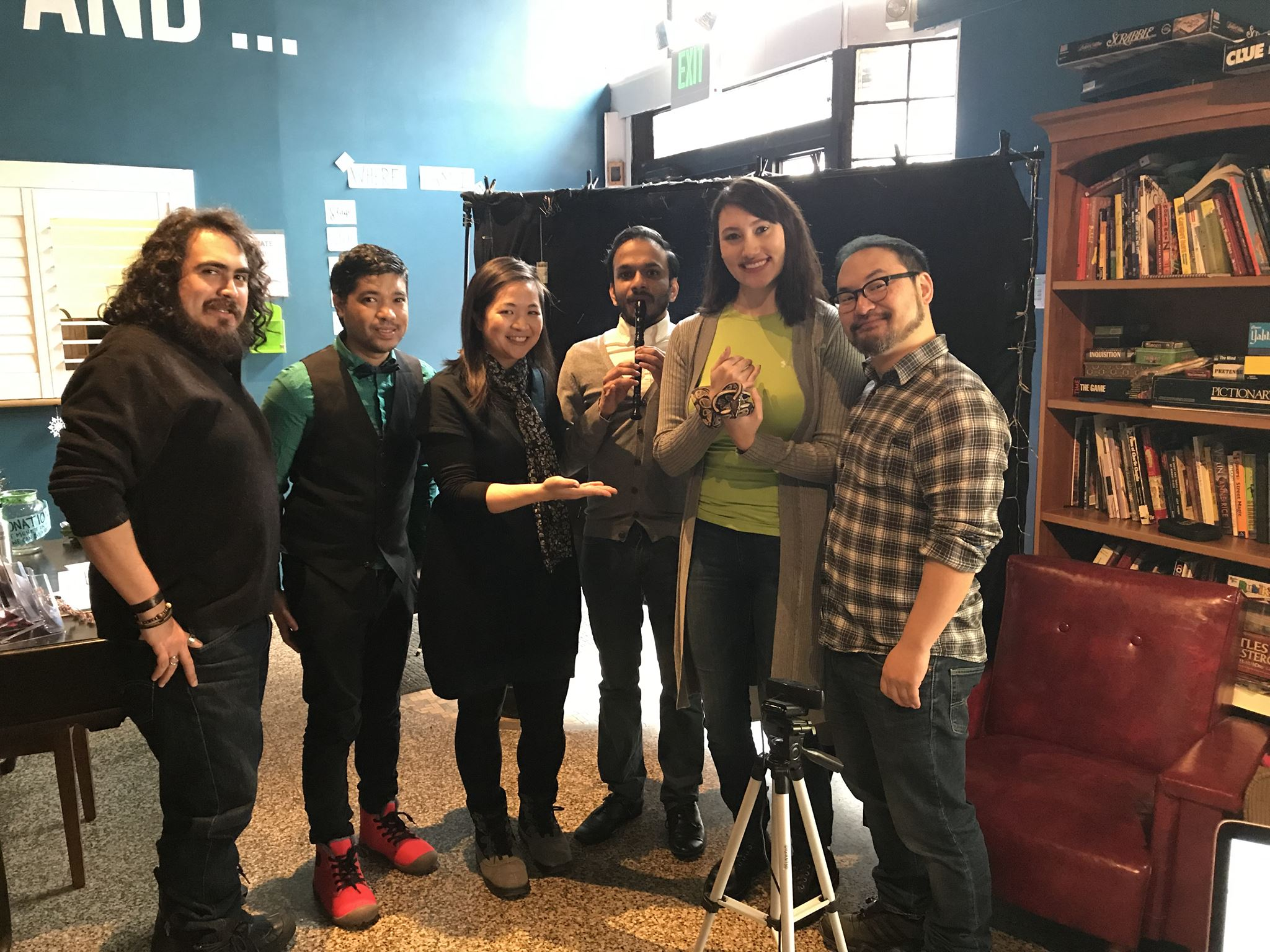 From left:  A++  friend (and wizard) Lucas Gerace, Brian Young, Kim Le, Jacob Joseph, Sam Brunner and Grant Chang. And Zatanna, the wizard's python.
