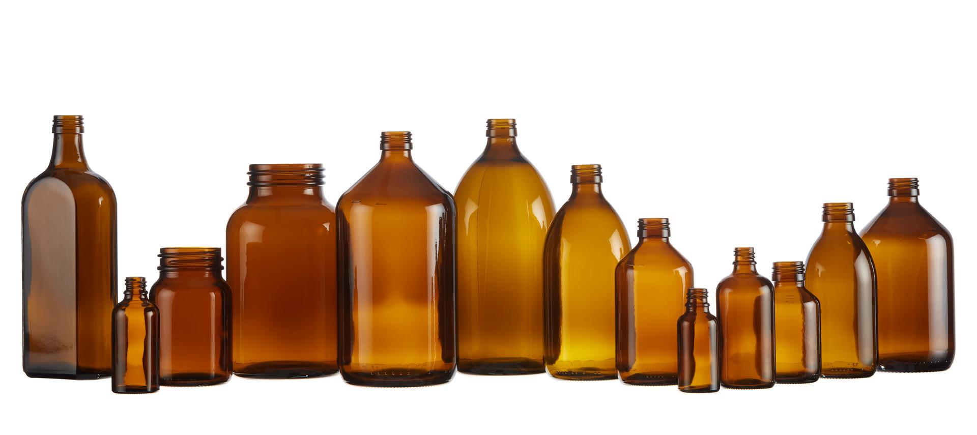 Product foto van collectie bruine glazen flessen voor webshop