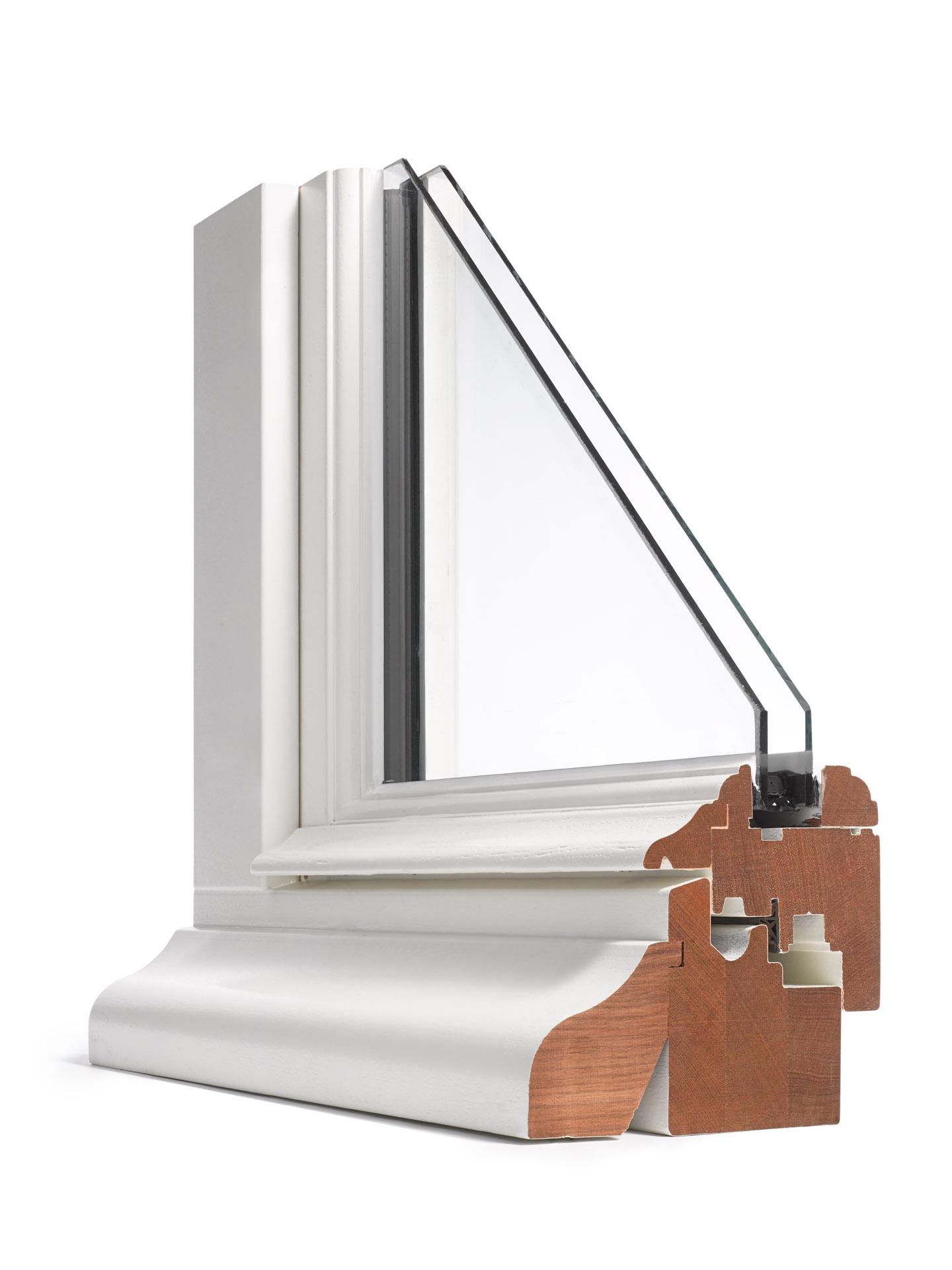 Product foto van doorsnede raam profiel