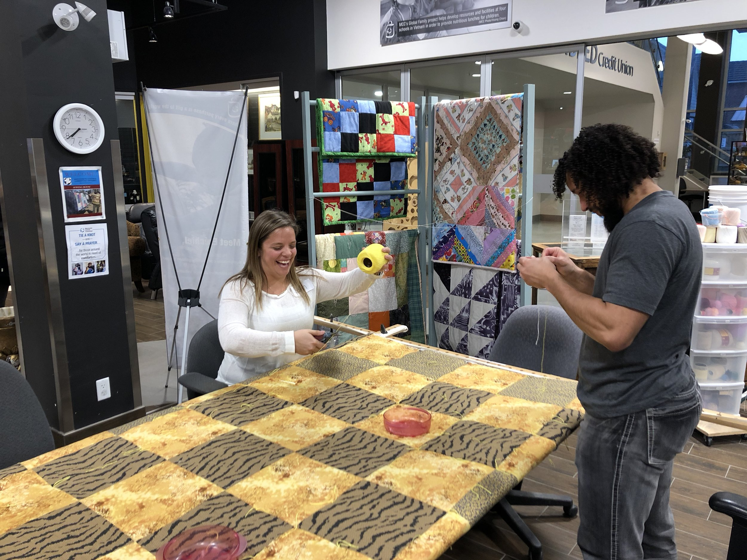 We also had the opportunity to help knot two of MCC's iconic relief quilts.