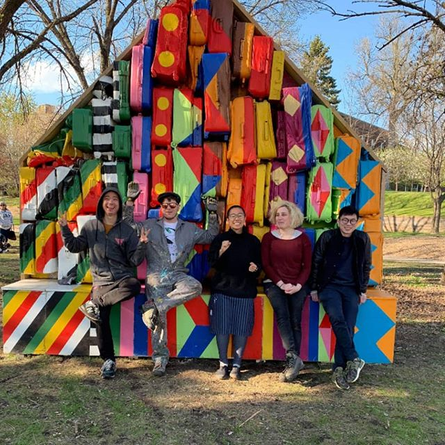 CarryOn Homes reinstalled at Hamm Park St Paul after being @commonsmpls Minneapolis last year! Such a beautiful day  COH team @shunjie13 @prestondrumstudios @pen9wu @chibataki @zcinel working closely with community volunteers from @indigeroots. Thanks to MRAC community development grant to make it happen! Entire installing was led by @prestondrumstudios, thanks to @russwhiteart for coming to help!! p.s. if you ever wonder why it's pink inside: there is some changes in design to serve the different communities of the neighborhood, it will stay pink temporary (pink is not for everyone I know..), a local graffiti artist will create a mural on the pink wall. The other side we will display portraits(created by @shunjie13 ) of local community members to empower people in the neighborhood. . . . . . . . . @forecastpublicart @publicartstpaul @publicartreview @walkerartcenter @artsmia . #publicart #immigration #artinpublicplaces #contemporaryart #installation #immigration #immigrationartist #immigrationlaw  #contemporaryart #publicart #minneapolis @mnartists @mncitizens4thearts @mnmomag #installationart #installationartist  #performanceart #participatoryart #stpaulart @publicartstpaul #creativecitychallenge #creativecity #creativecityproject #creativecitymaking #socialpractice #socialpracticeart #artandsocialpractice  #artmuseum #artmuseums #contemporaryartmuseums @mnoriginal  #communityengagement #communityart