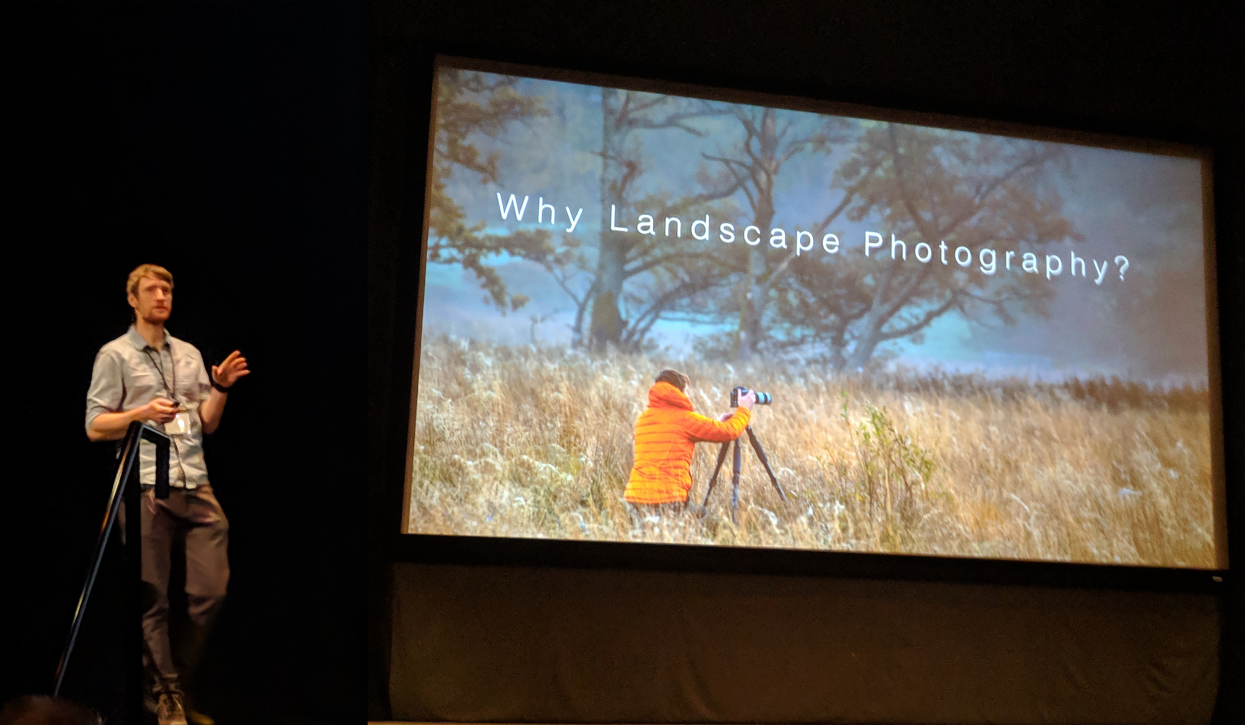 "Thomas Heaton taking the stage for his opening keynote, ""Why Landscape Photography"""