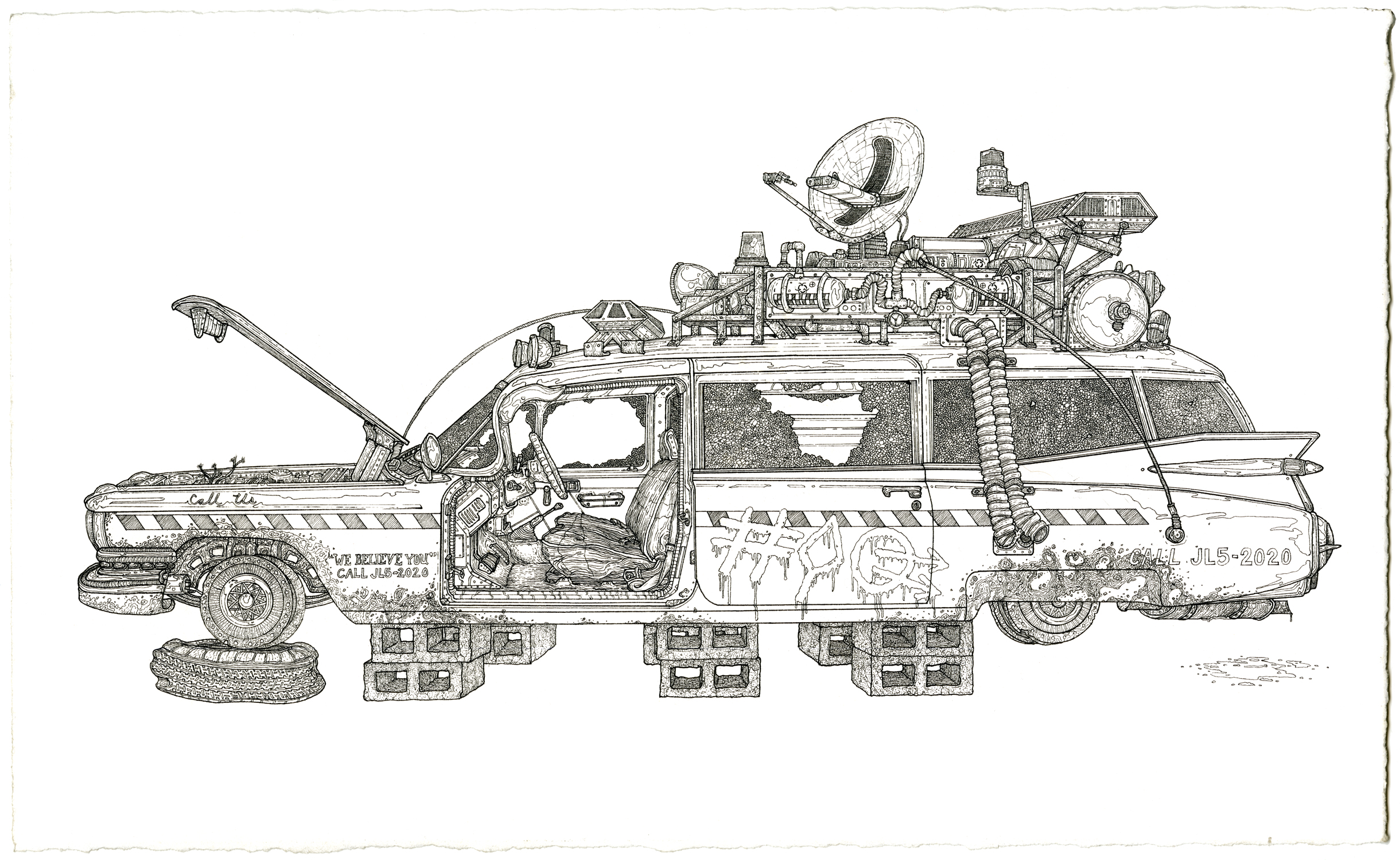 ecto 1 , ink on paper, 8.5in. x 14in., 2009