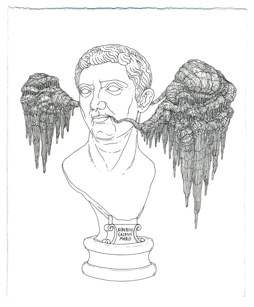 tiberius claudius nero , ink on paper, 8.5in. x 7in., 2009