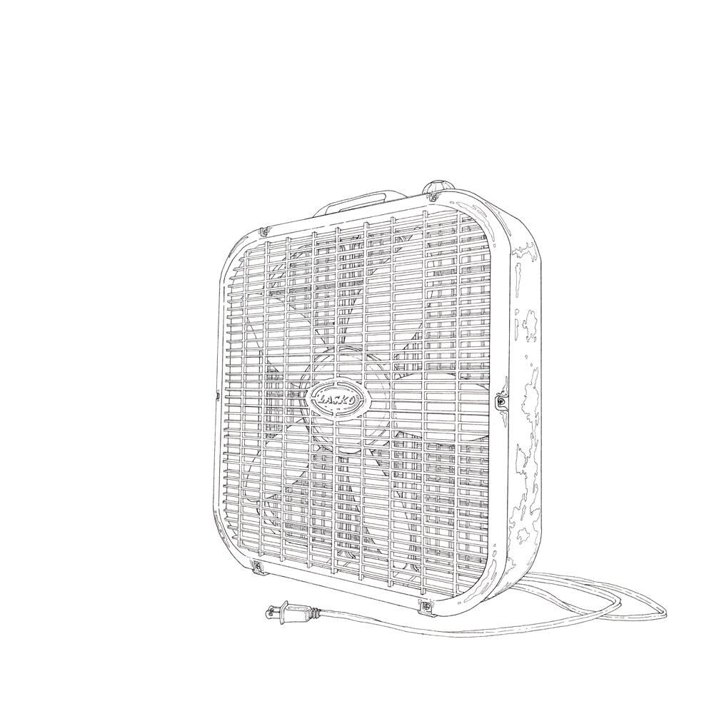 box fan , ink on paper, 12in. x 12in., 2009