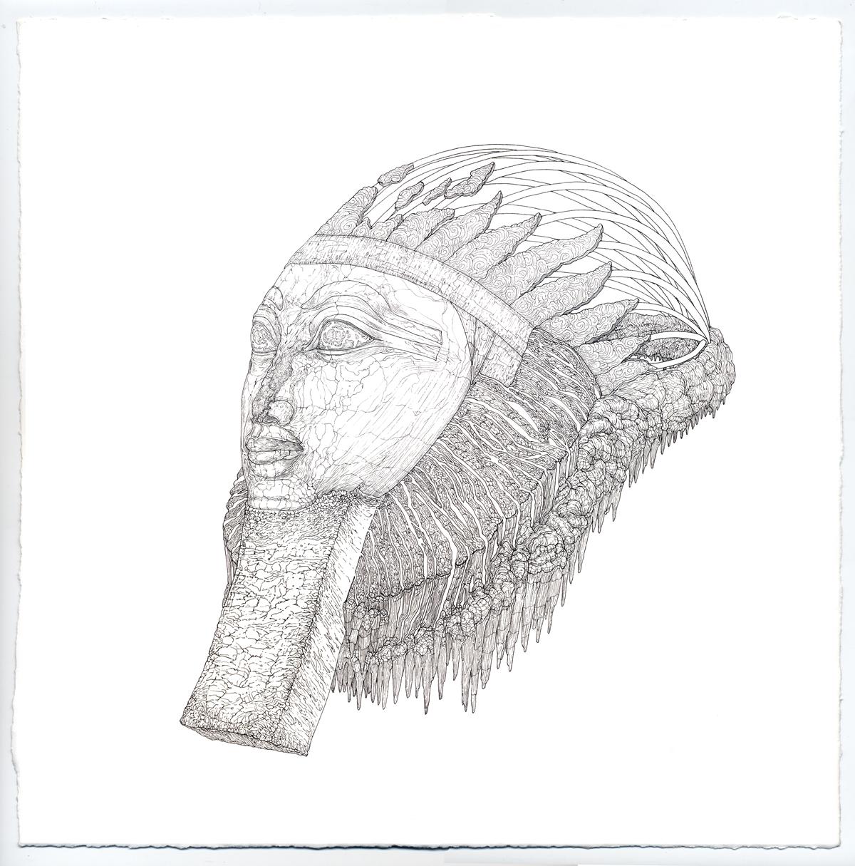hatshepsut, ink on paper, 12in. x 12in., 2009