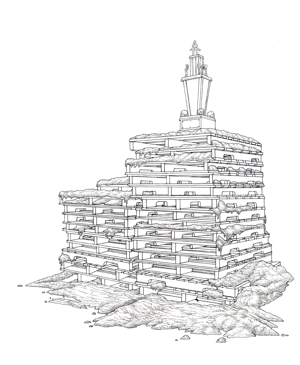 stacked pallets , ink on paper, 8.5in. x 7in., 2009