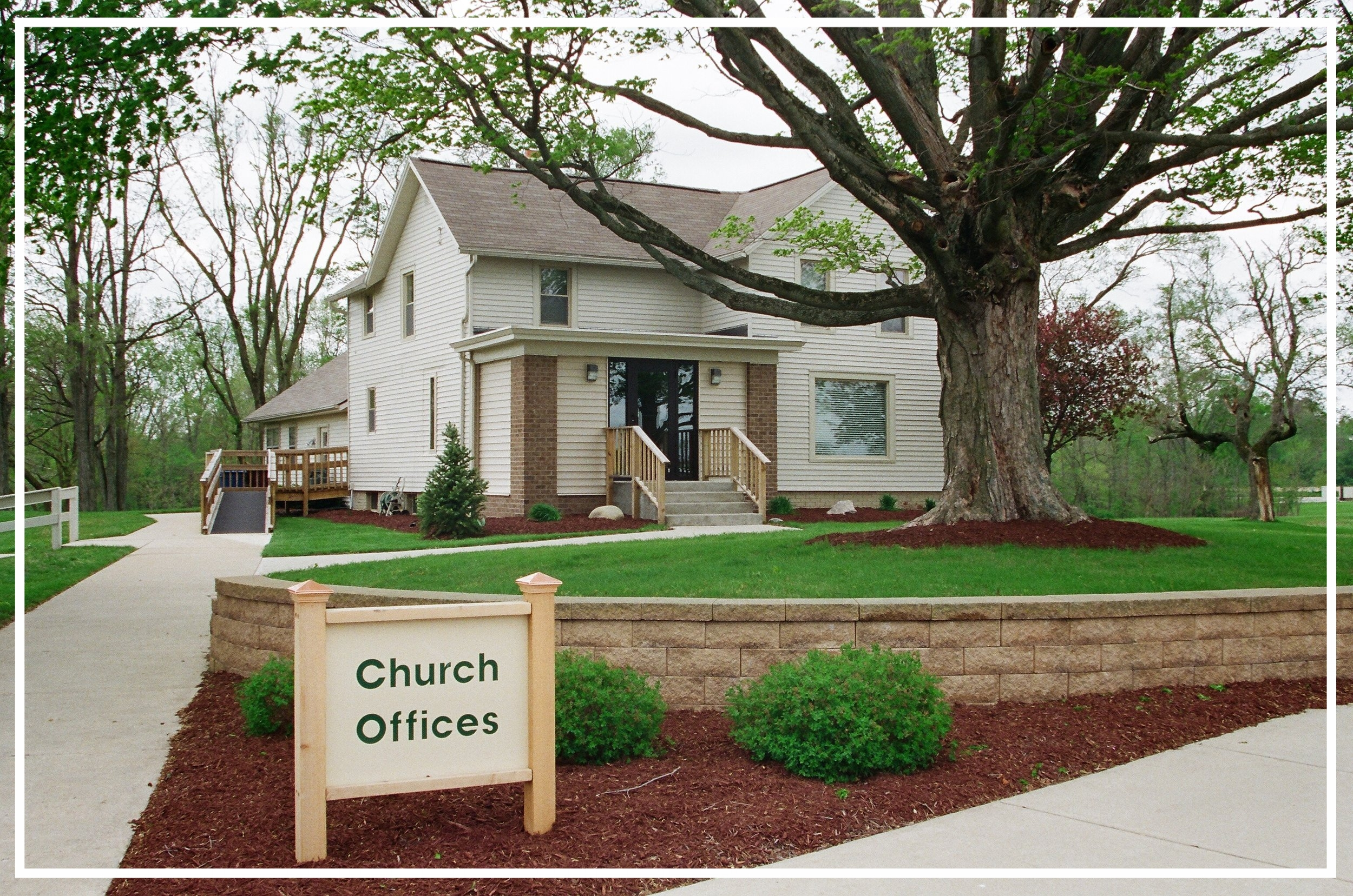 Church Office - The church office is in a renovated farm house located between our Worship Center and the Education Center. Office hours are Tuesday through Friday from 9 am to 2 pm and by appointment at other times.