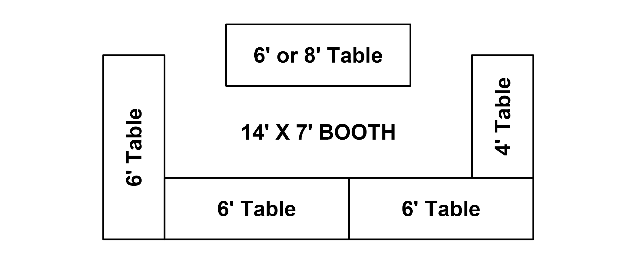 14' x 7'* Booth   Comes with 4 – 6' tables and 1 – 4' table, 750 watts of electricity, table skirts**, table covers** and 2 chairs. Please note, if you order any showcases(s) you will lose a table(s).