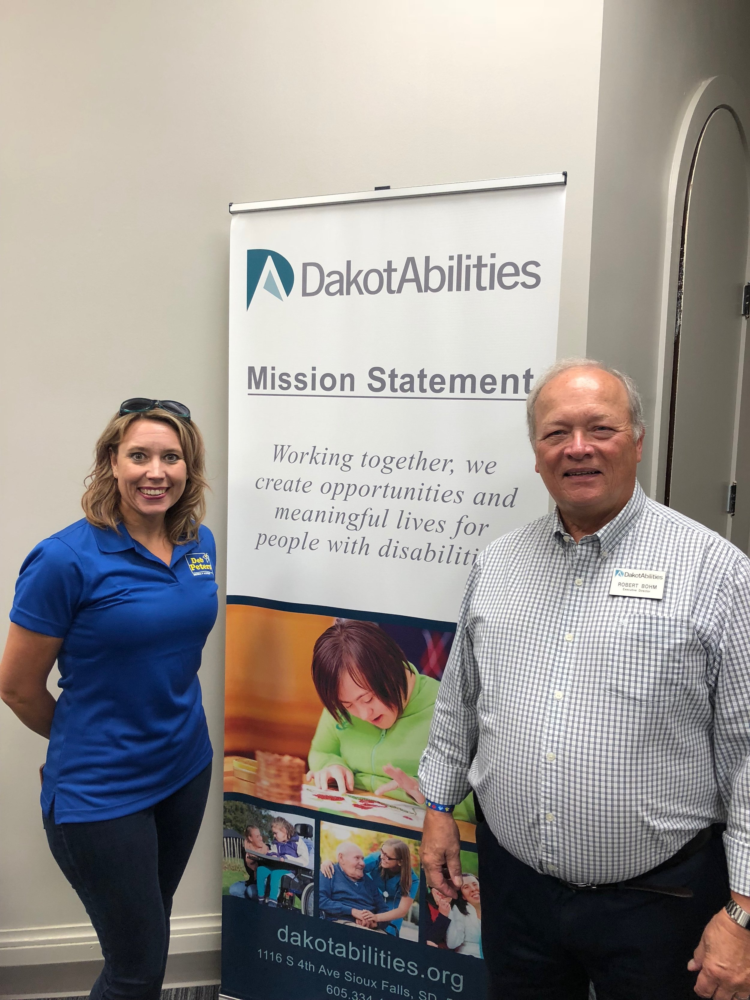 Pictured above is District 9 Senator, Deb Peters and Dakotabilities Executive Director Bob Bohm.