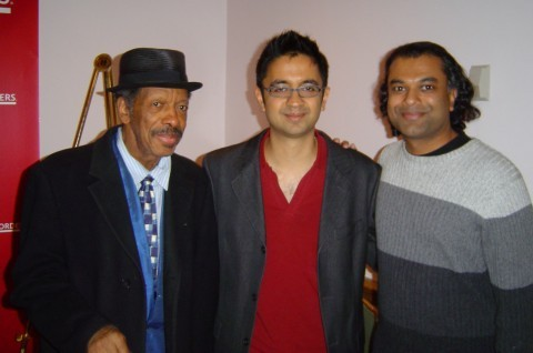 Me, Vijay Iyer, and Ornette Coleman at IAJE in 2007.