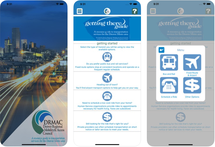 Rides is DRMAC's application version of The Getting There Guide (which can be viewed in full online). Designed for at hand and direct access to low/no cost mobility for qualifying riders, options for paratransit, and assistance for transit users who have special needs or circumstances. Includes contact, costs, availability, restrictions, areas served.