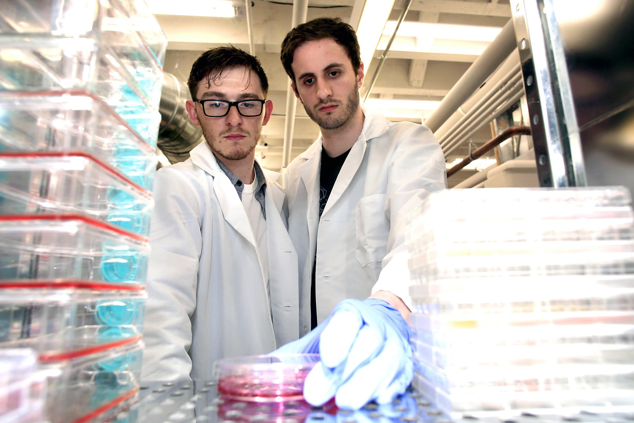 Brian Wyrwas (left)and Mike Selden, co-founders of the startup Finless Foods, are awaiting the arrival of edible fillets in their San Francisco lab.Photo by  San Francisco Chronicle