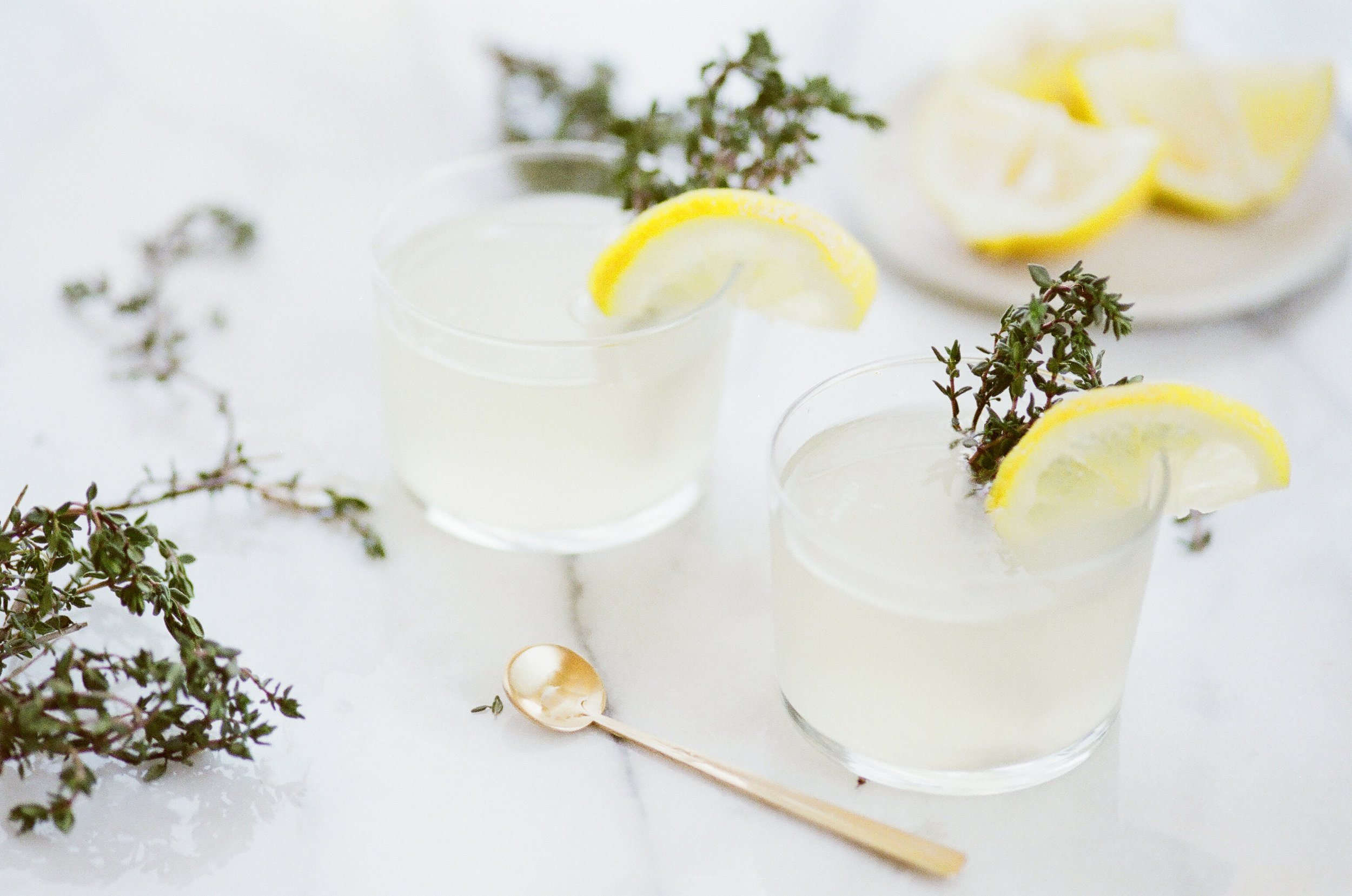 This thyme lemonade is the perfect drink for summer heat. Paired with gin, it also makes for a lovely year-round cocktail.