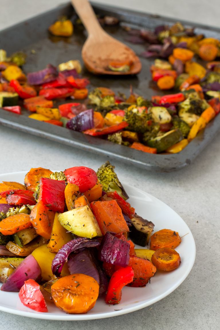 A colorful dish flavored with balsamic vinegar and roasted without oil for extra crunch. Photo from  Simple Vegan Blog