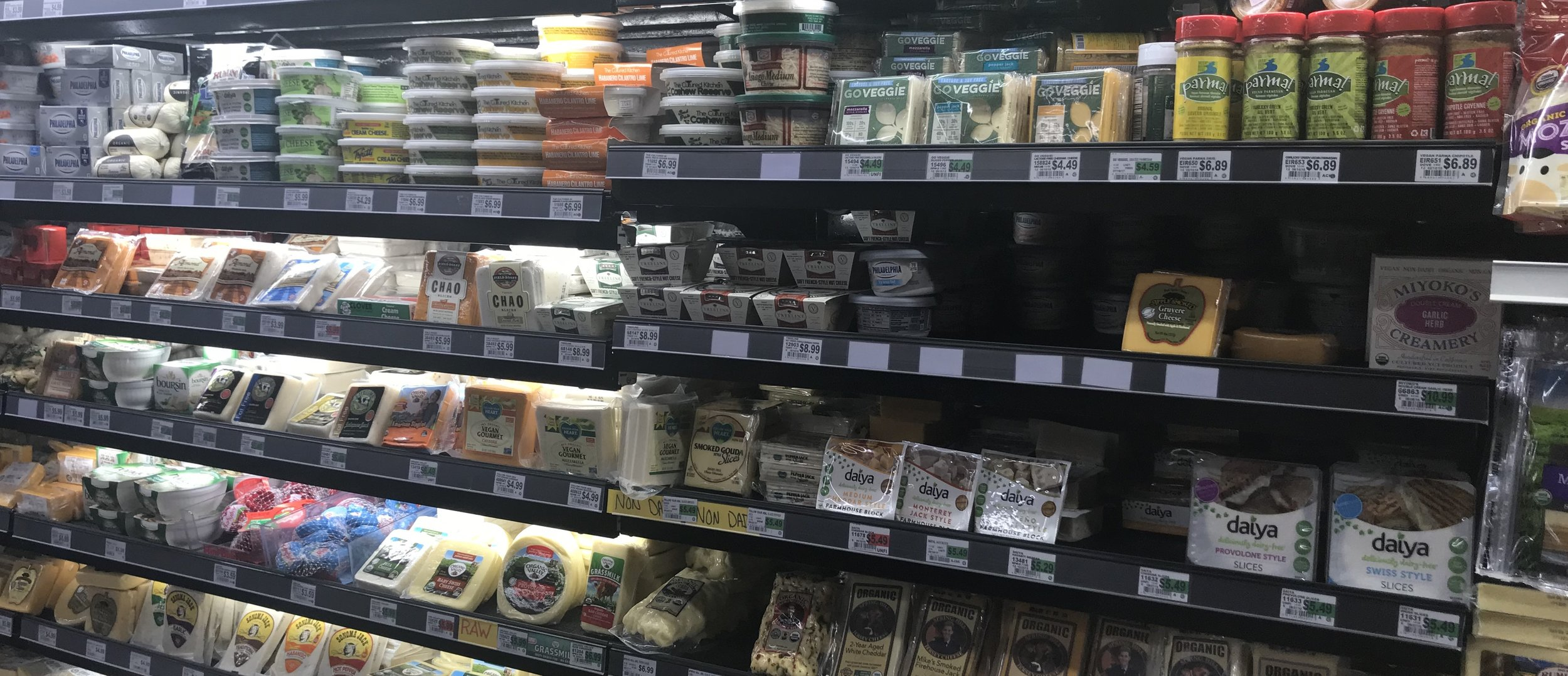 The extensive plant-based cheese selection at local grocery store Berkeley Bowl.