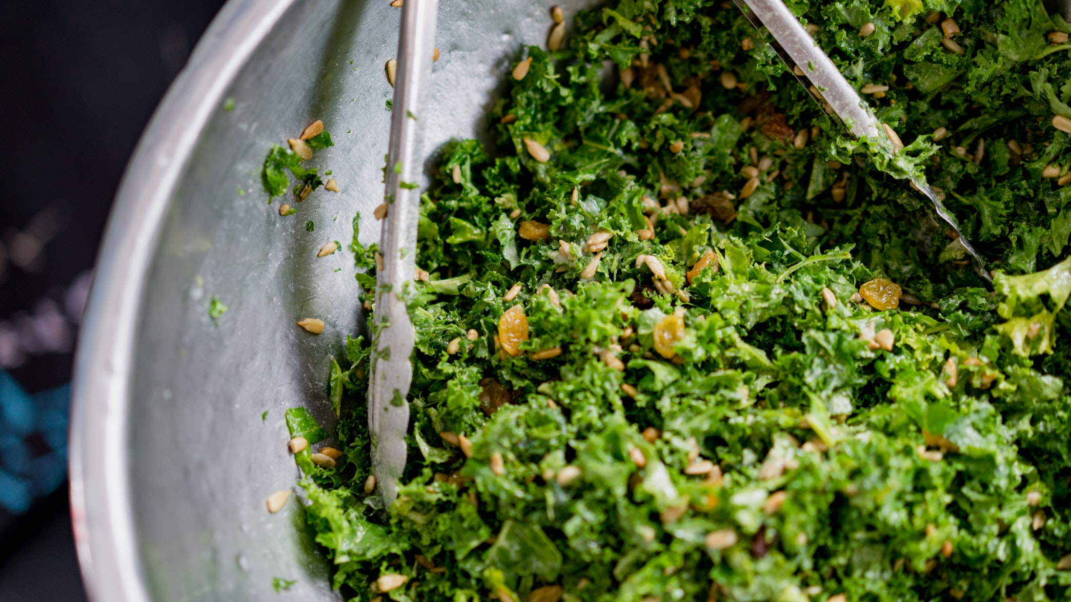 Kale is great for caesar salads. Other lettuces tend to be too delicate for the thick, creamy dressing featured in this recipe. Feel free to add bulk to the finished product with sweet and salty toppings. Dried fruit, toasted nuts, and roasted chickpeas fit in nicely.
