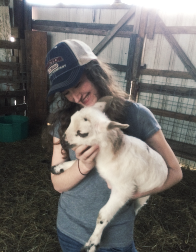 Paige picking up the first lambs on her new farm.