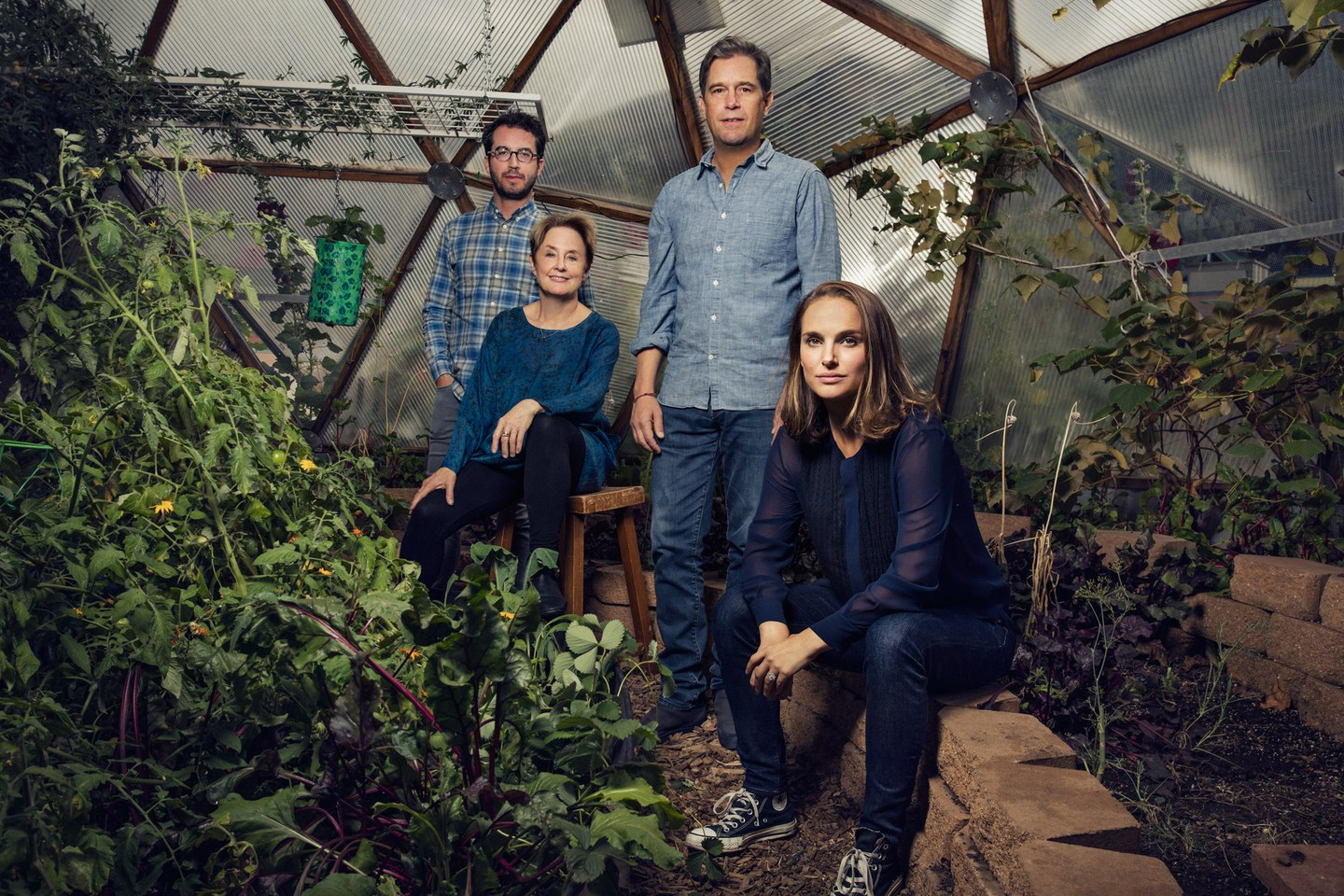 "Based on the bestselling book by Jonathan Safran Foer and narrated by Natalie Portman, ""Eating Animals"" conveys an urgent message about the American industrial food system. Pictured here are members of the production team, along with Alice Waters. Photo by Justin Bishop from  Vanity Fair"