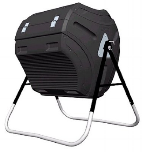 Lifetime 60058 Compost Tumbler, Black, 80-Gallon     Pros   - Large door panel makes adding and taking out compost a breeze  - Huge capacity (80 gallons)  - Structurally solid; will work for most households   Cons   - No compost tea collector so it leaks; best if built on dirt  - Requires assembly (and a drill)   Bottomline:  Great for efficient compost-making if you have a larger household and the yard space.