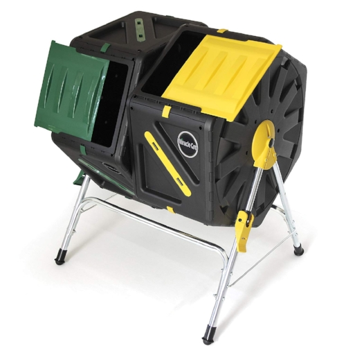 Miracle Gro Dual Chamber Compost Tumbler     Pros   - Dual chambers, which means you throw all your kitchen scraps into one chamber while allowing the other chamber, the one with older material, to finish decomposing. This lets you keep a constant flow of compost from kitchen to yard.  - Smaller volume (37 gallons) is perfect for smaller, 2-person households  - Critter-proof doors   Cons   - Requires assembly  - Not as durable   Bottomline:  Excellent choice for churning out batches all year long and handling waste from a smaller household. Be prepared for some complicated assembly.