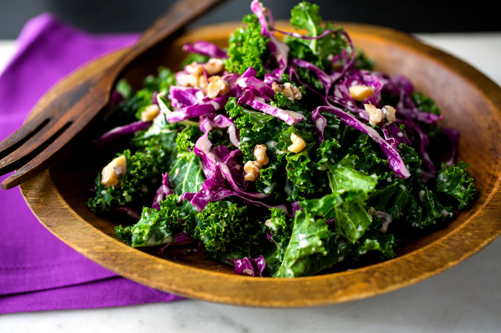 Photo Source . This salad contains completely fresh ingredients, along with some hearty seeds. They add a little crunch and provide a good amount of protein. The lightly dress final product is full of color - the perfect compliment to a plate of pasta, fried rice, or any other starchy main dish.