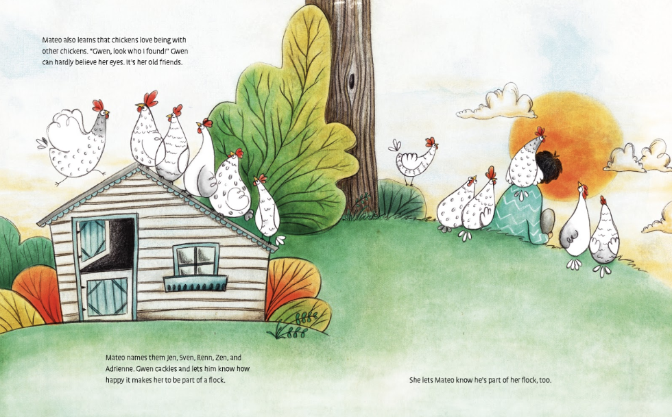 After a tornado blows down the hen house, Gwen is reunited with her flock of friends, which now includes Mateo.