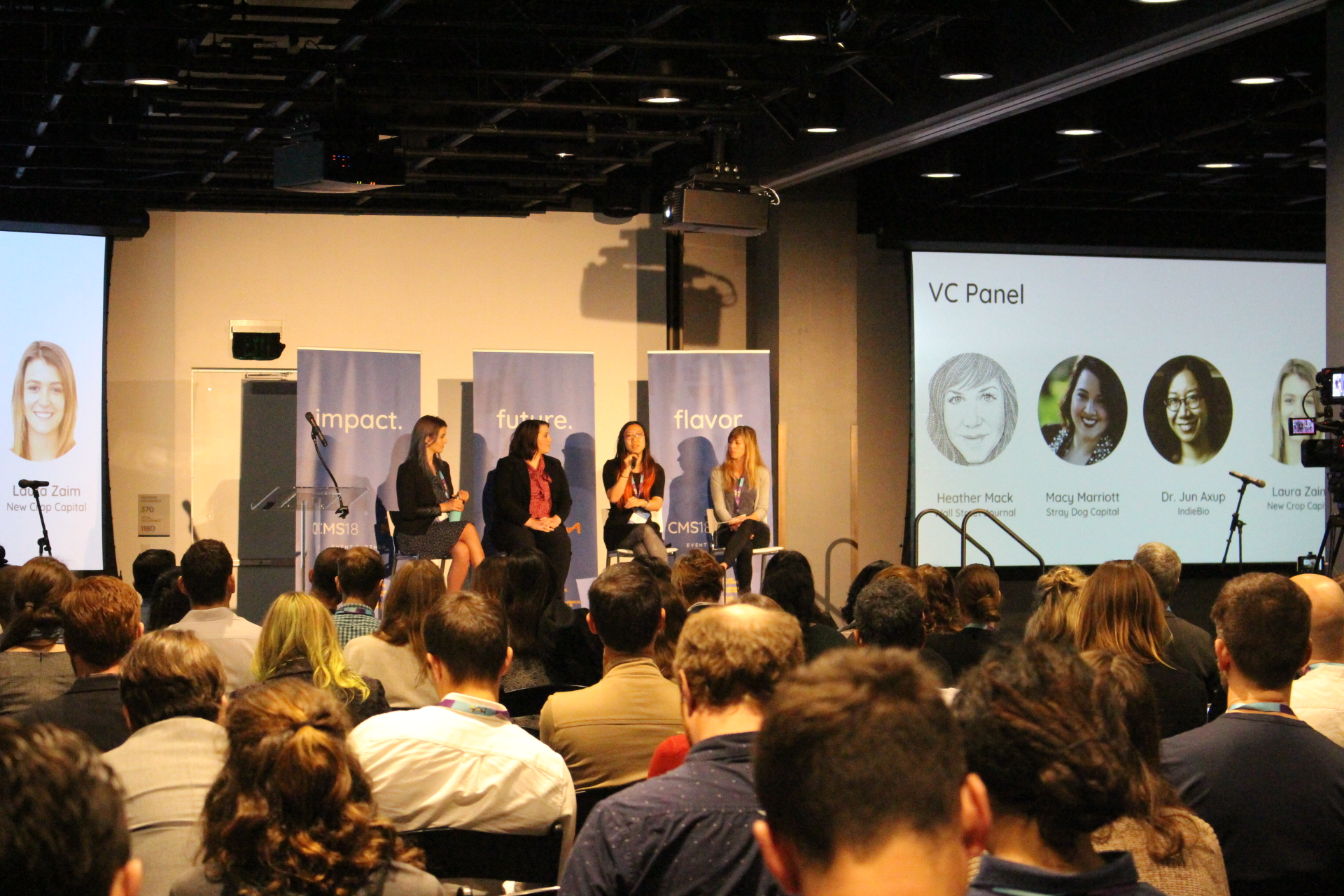 A panel at the Cultured Meat Symposium brought together venture capitalists investing in clean meat. Moderator Heather Mack from the Wall Street Journal interviewed Jun Axup from IndieBio, Macy Marriott from Stray Dog Capital, and Laura Zaim from New Crop Capital.