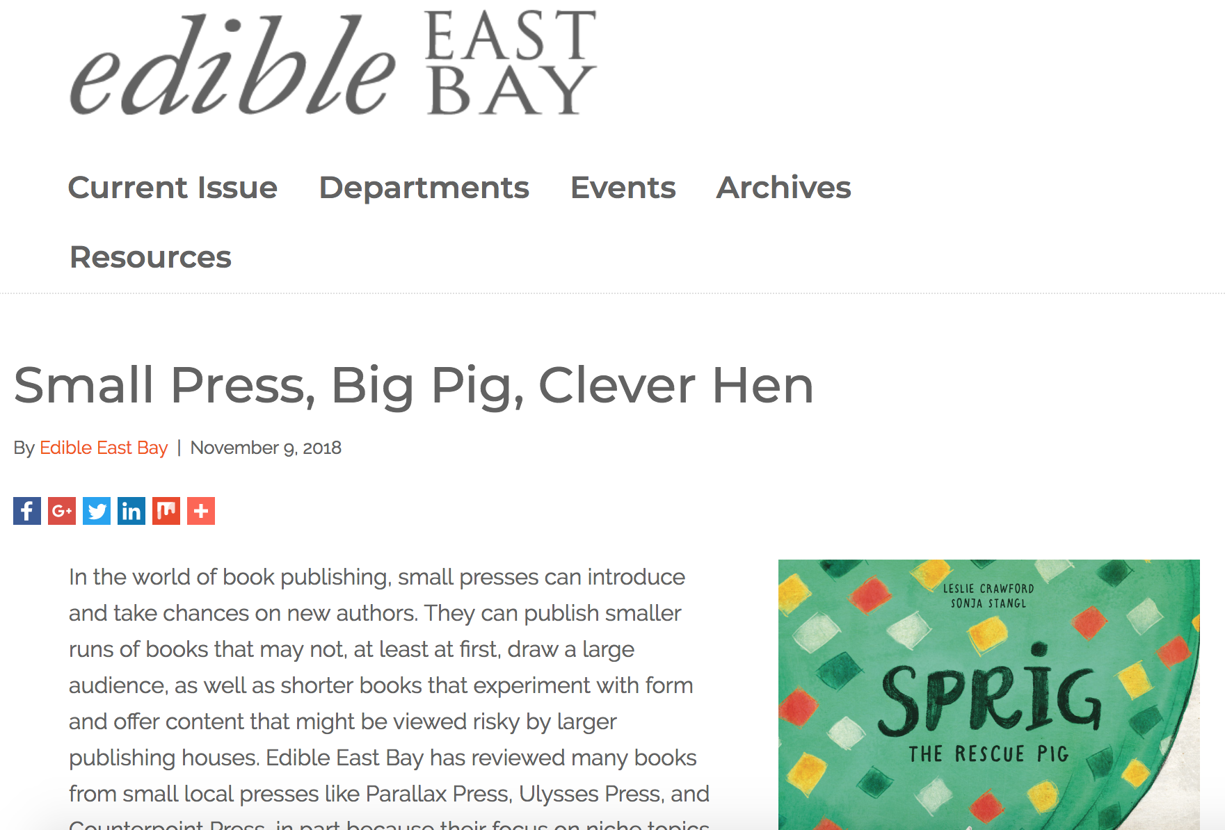Kind words from  Edible East Bay  about Gwen & Sprig!