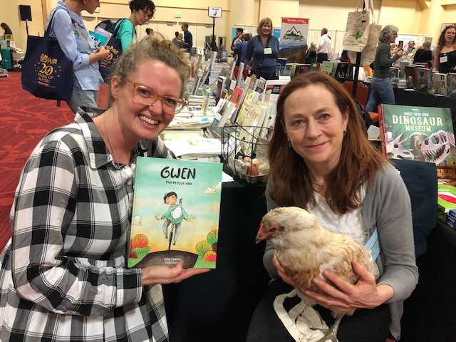 Leslie Crawford brings her chicken, Alice, to the Northern California Book Fair in Oakland.