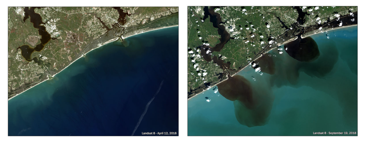 Before-and-after photos of the coastline near Marine Corps Base Camp Lejeune on April 12, 2018 (left), and then on September 19, 2018 (right), after Hurricane Florence dumped near-record amounts of rainfall. The dark brown liquid spilling into the Atlantic captured in the September 19 image is a mix of rainwater, riverbed sediment and waste from those factory farms within the 100-year flood plain that were inundated with more than 20 inches of rain in the matter of a couple of days. (Photo credit: Landsat 8/NASA via  Environmental Working Group