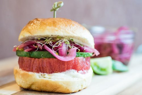 Who needs tired beef patties? Sink your teeth into this juicy  beefsteak tomato burger . Wow.