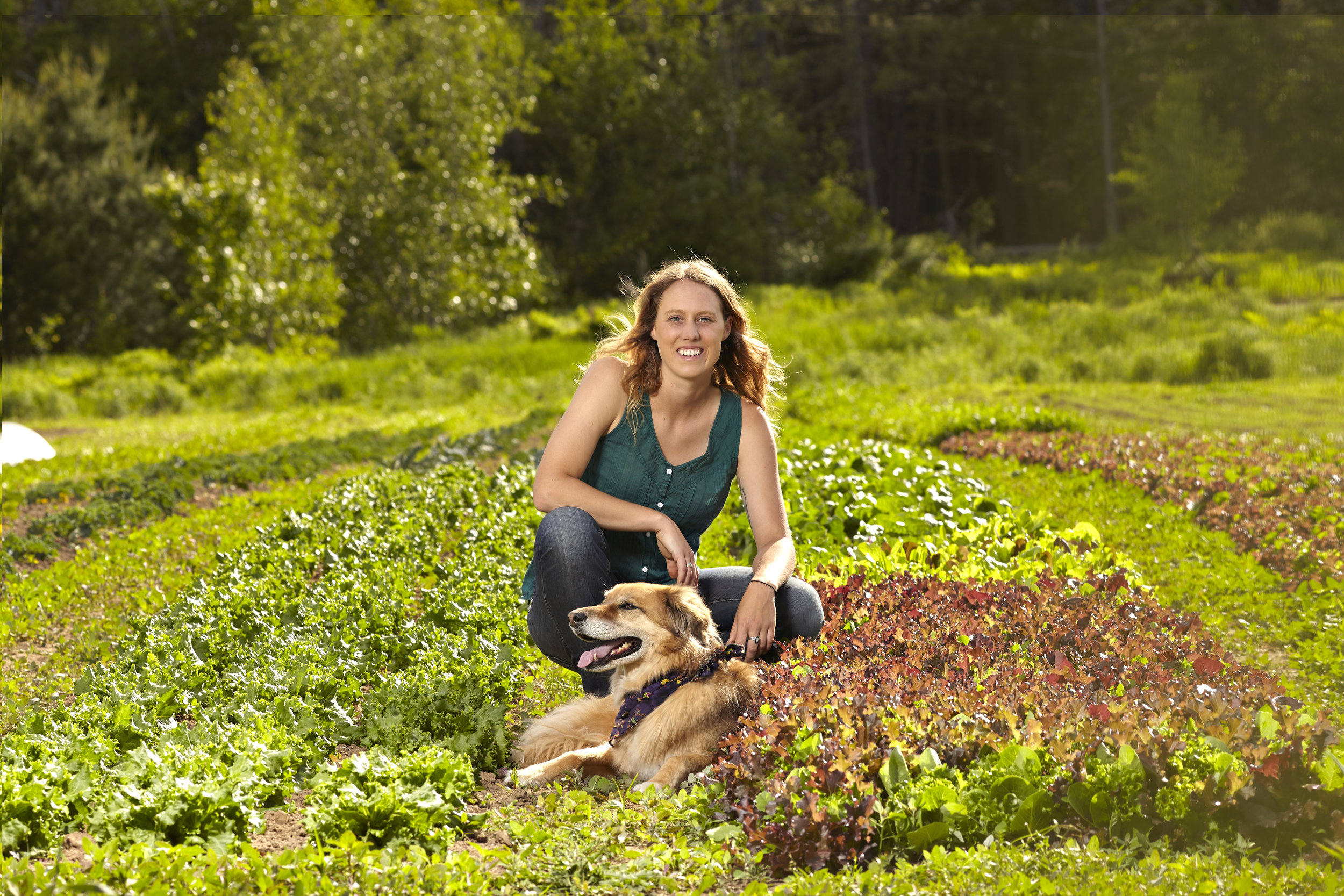 Acadia Tucker takes a break with Nimbus, who gets free rein of the farm.   Image source: Micheal Winters Photography