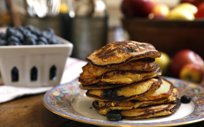 Cornmeal and fresh blueberries add texture to this breakfast treat. Serve with maple syrup or a blueberry compote (image via  LA Times )