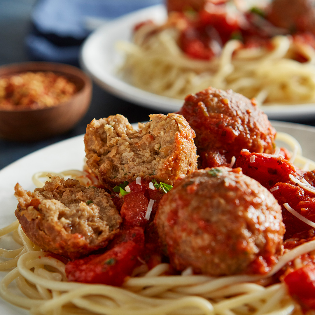 Spaghetti and plant-based meatballs, served up by the  Beyond Meat  company.