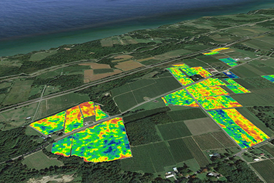 Satellite imaging quickly points out which crop areas need more attention. Photo from the Cornell University Agricultural Experiment Station.