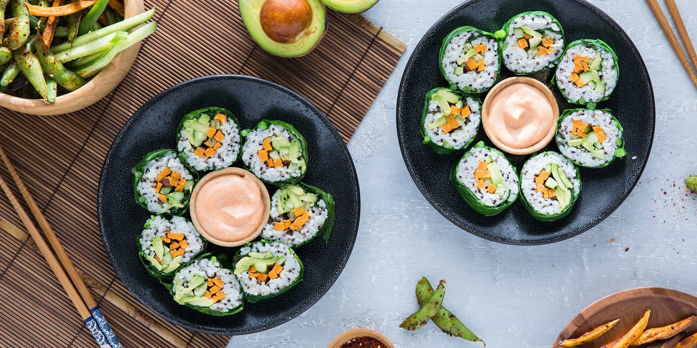 These   Collard Greens Sushi Rolls     are simple to make and allow you to customize how they like them. Try setting up a collard sushi-making station at your next party.  Image source