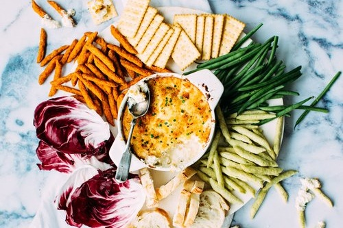Swap kale or collard greens for spinach in this  vegan spinach dip . Or just run with spinach.
