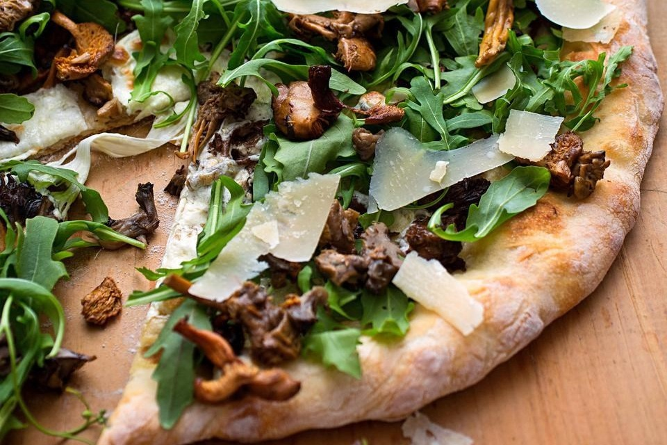 I love how easy it is to add whatever I have in the fridge to pizza. I highly recommend this   Wild Mushroom Pizza with Arugula and Pecorino   if you want to make it yourself.  Image source